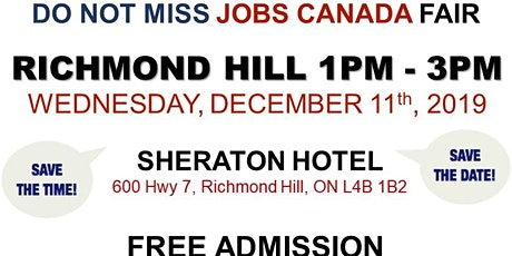 Richmond Hill Job Fair – December 11th, 2019 tickets