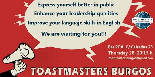 Sesión en inglés - English meeting- Toastmasters Burgos-  Public speaking