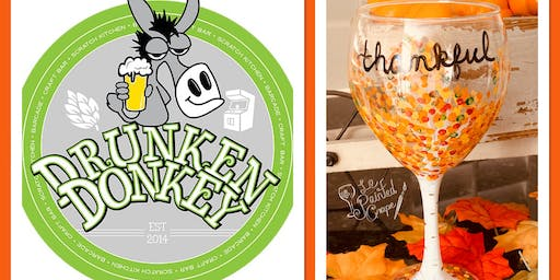 New Class! Join us for our Thanksgiving Glass Painting Party Workshop at Drunken Donkey, The Colony on 11/20 @ 7 pm