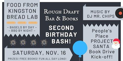 Rough Draft's Second Birthday Bash! Food, DJ & Project Santa Book Drive