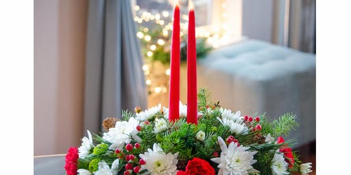 Blooms&Bliss/Lake Zurich Florist Holiday Workshop 12/14: Fresh Floral Holiday Centerpiece