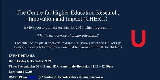 UOW Faculty of Social Sciences CHERII - Seminar - What is the purpose of Higher Education?