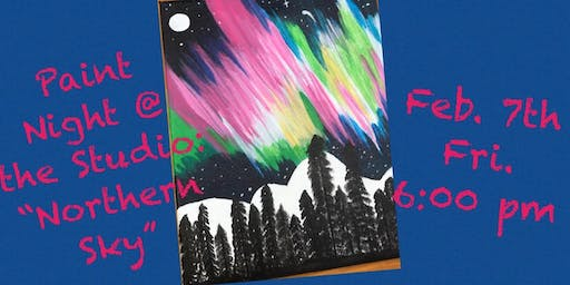 "Paint Night @ The Studio:  ""Norther Lights"" - 11x14 Canvas Take Home Art"