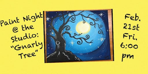 """Paint Night @ The Studio:  """"Gnarly Tree"""" - 11x14 Canvas Take Home Art"""