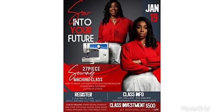 Sew Into Your Future 27 pcs Sewing Machine 101 Class  tickets
