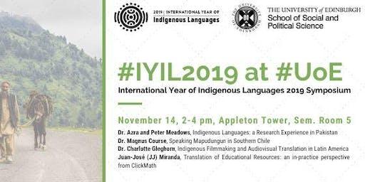 UoE Symposium for International Year of Indigenous Languages 2019