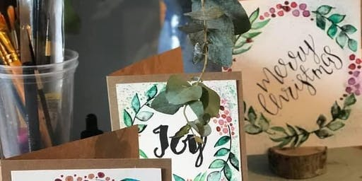 JS Design Handpainted Christmas Card and Gift Tag Workshop, Poplar Tree