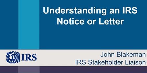 CPE by IRS: Understanding Your IRS Notice or Letter - Nov. 20, 2019