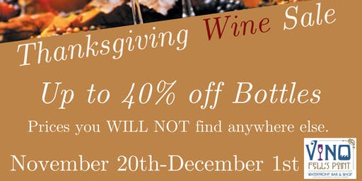 Thanksgiving Wine Sale at V-NO