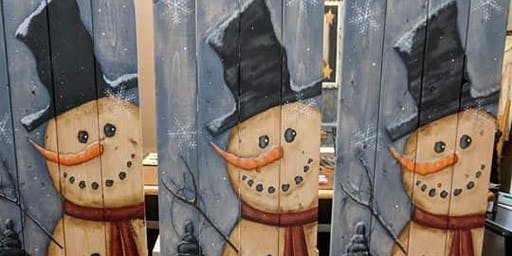 "Stroup Private Party - 38"" Snowman on Wood"