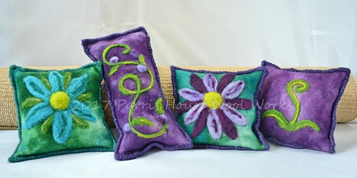 Making Wool Needle Felted Scented Buckwheat Sachet Pillows