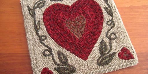 Beginner Rug Hooking - Two Solitudes Heart Design - Two Sessions