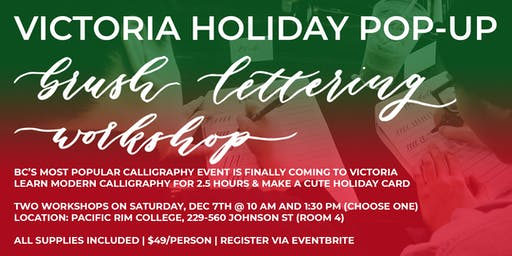 VICTORIA Christmas Holiday Pop-Up Brush Lettering CALLIGRAPHY Art Workshop