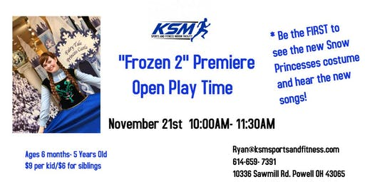 "KSM Sports Open Play, Songs & Pictures w/ The Snow Princess from"" Frozen 2"""