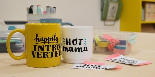 DIY Christmas: Hand Lettered Coffee Mugs!