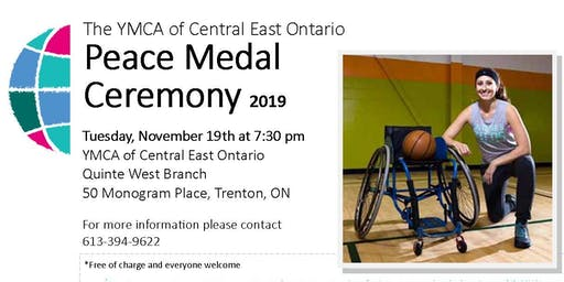 Quinte West YMCA Peace Medal Ceremony to celebrate Katherine Kerr-Pankow