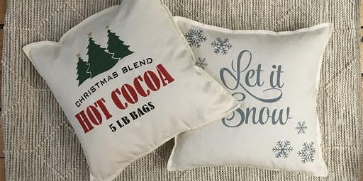 Christmas Stencilled Pillows