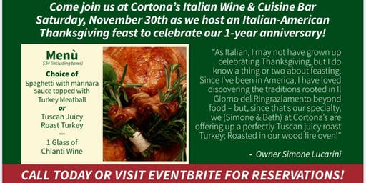 Thanksgiving Dinner at Cortona's!