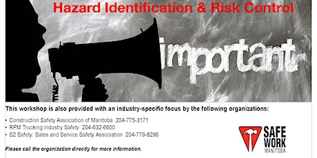 Hazard Identification and Risk Control - Steinbach, MB tickets