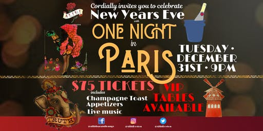 One Night in Paris New Year's Eve Bash at Alibi Bar & Lounge