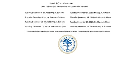 Gibson Pool Level 2 Learn to Swim Tuesday/Thursday (6:00PM-6:45PM) December 2019