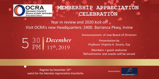 OCRA Membership Appreciation Celebration - Year in Review & 2020 Kick-Off!