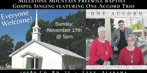 Millstone Mountain Freewill Baptist singing with One Accord Trio