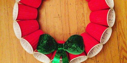 Red mini solo cup wreath