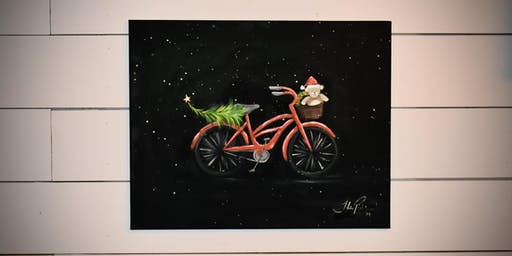 Red Holiday Bicycle  - paint lesson