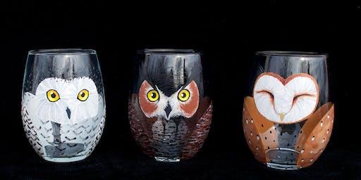 "Adult Open (18yrs+) ""Little Owl Companion Wine Glasses"""