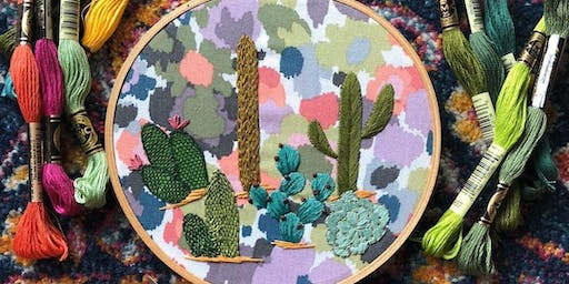 Cacti Hoop Embroidery Workshop with Melissa of MCreativeJ
