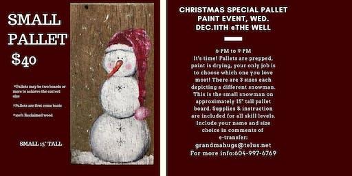 Primitive Rustic Snowman Pallet Paint Nite