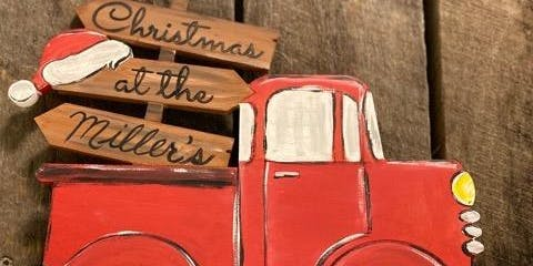 Little Red Truck Wooden Christmas Sign
