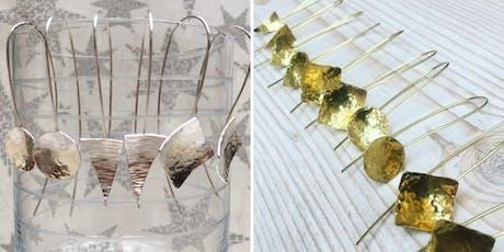 Jewellery Workshop making Silver or Brass textured metal earrings tickets