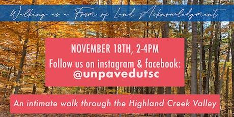 Unpaved: Walk through the Highland Creek Valley tickets
