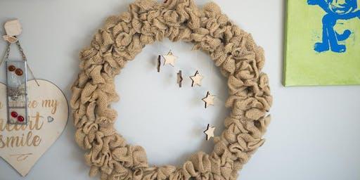 Happy Holidays Burlap Wreath Workshop