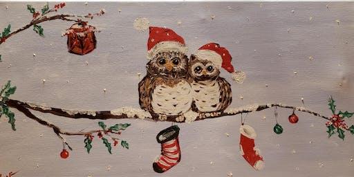 Christmas Owl Paint & Sip