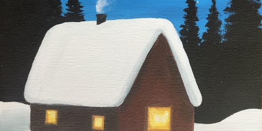 Kids & Grown-Ups Snowy Cabin Painting Party