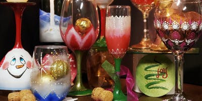 Mimosa Sunday Brunch Painted Wine Glasses Party at