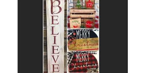 Choose Your Own Holiday Wood Signs-GILLETTE  (12-05-2019 starts at 6:00 PM)
