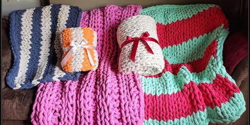 Sip and Knit Chunky Knit Blanket Class