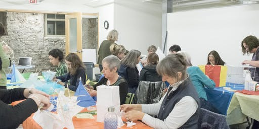 Creating bamboo and paper lanterns - A Midwinter Celebration Workshop