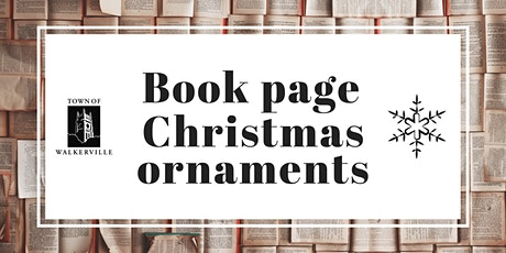 Book page Christmas ornaments tickets