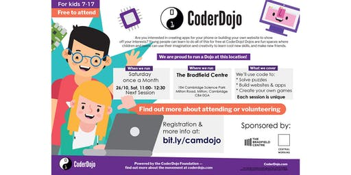 FREE CoderDojo: kids 7-17 learn to code. November, 2019
