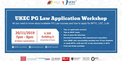 UKEC Postgraduate Law Application Workshop - Essex