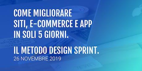 Come migliorare siti, e-commerce e App con il Design Sprint. biglietti