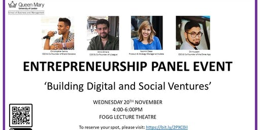 Entrepreneurship/Enterprise Panel Event- Building Digital & Social Ventures