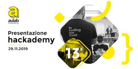 Presentazione hackademy 13ª edizione biglietti