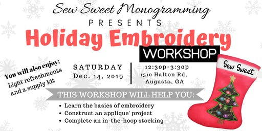 Embroidery Basics Workshop Holiday Edition