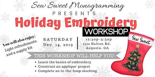 Embroidery Basics Workshop Holiday Edition